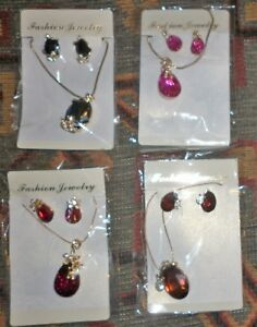 JOB-LOT-4-SETS-VINTAGE-CRYSTAL-PENDANTS-EARRINGS-EXCELLENT-CONDITION