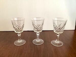 Set-of-3-Cut-Crystal-Liqueur-Cordial-Glasses-Stemmed-Crisscross-Cut