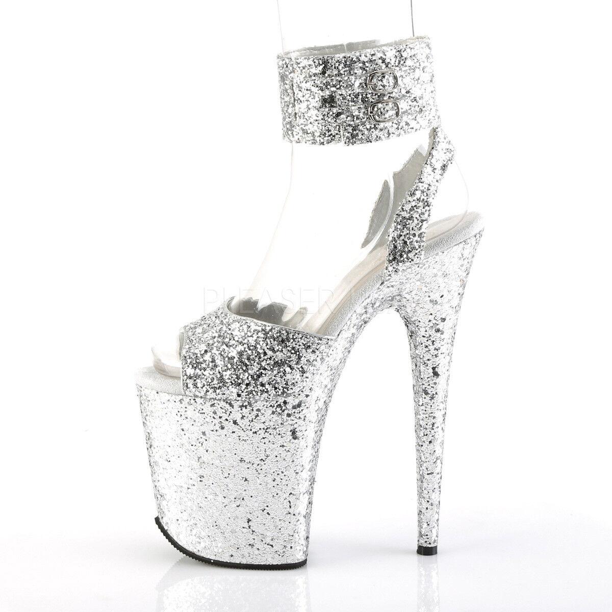 Flamingo 891 Silber Silber Silber Glitter 8  High Heel Platform schuhe With Ankle Cuff 5-10 1e3949