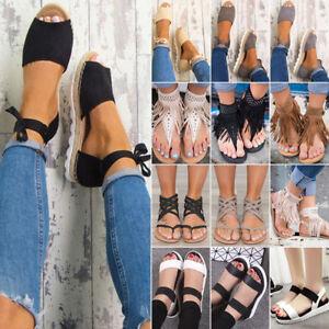 Women-Sandals-Flat-Wedge-Strappy-Espadrilles-Peep-Toe-Beach-Flip-Flops-Shoes-US