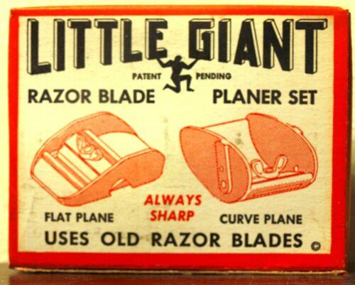 NOS Vintage Little Giant Razor Blade Thumb Planer SET Flat /& Curved Mini Plane