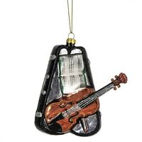 Violin With Case Glass Christmas Ornament, 4.75 Tall, By Midwest Cbk