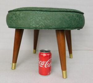 Mid-Century-Modern-Peg-Leg-Small-Round-Footstool-Ottoman-Teak-Teal-Green-Seafoam