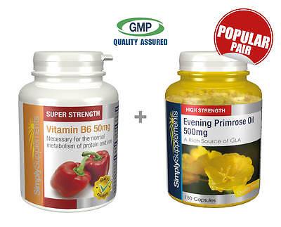 Vitamin B6 50mg 360 Tablets+Evening Primrose Oil 500mg 360 Capsules  Hormonal