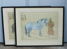 Pair of Vintage Silkwork Chinese Watercolours Horses and Figures