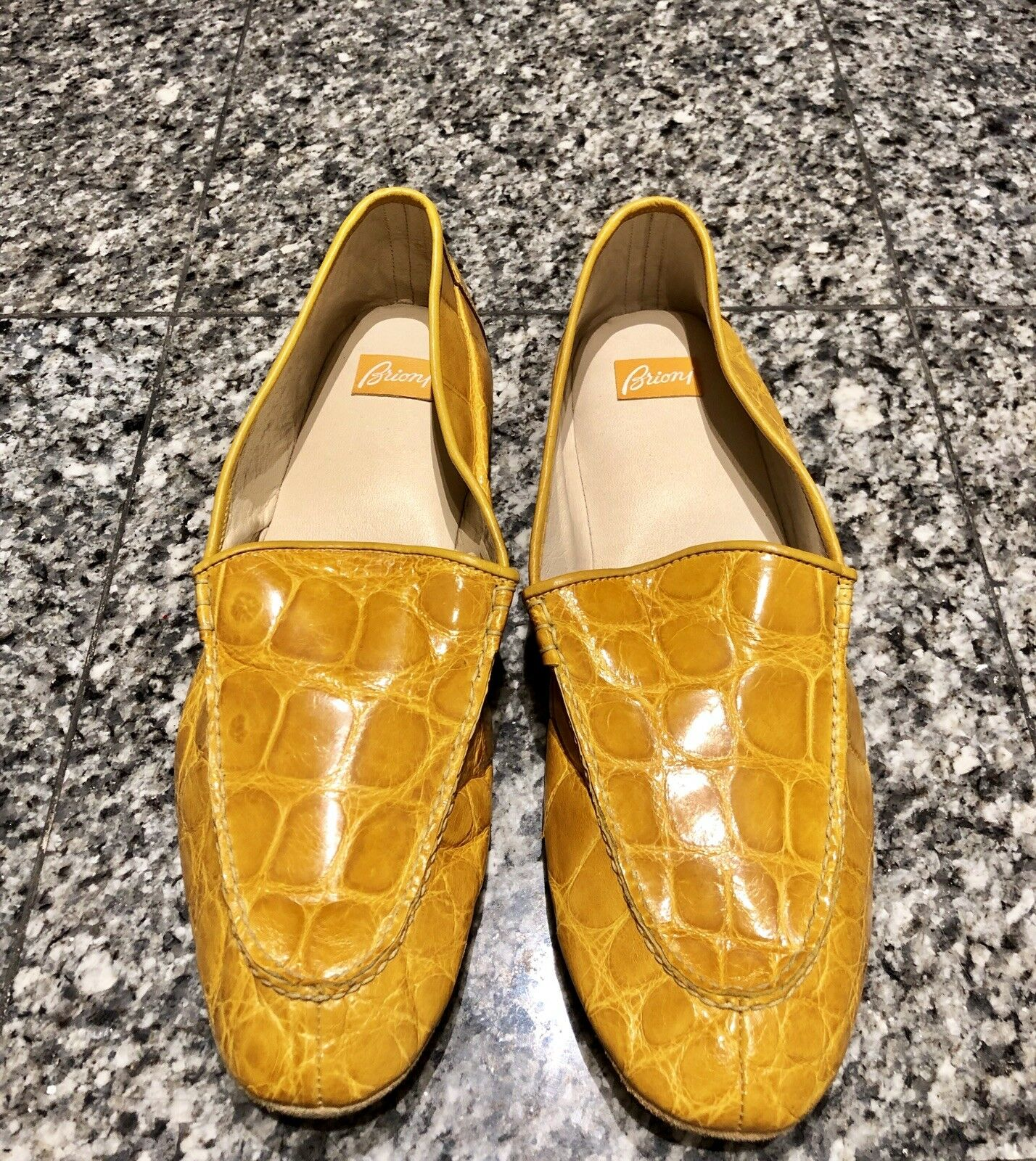 Brioni Yellow Crocodile Men's Slippers shoes