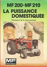 Brochure Leaflet Tracteur Tractor Massey Ferguson MF 200 / 210 - 6 pages
