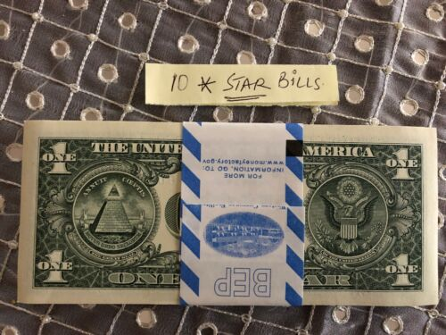 TEN ✯ STAR NOTE $1 Dollar Bill UNCIRCULATED SEQUENTIAL CRISP from BEP PACK 10