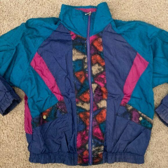Vintage New York Classic 1990s Lined Track Jacket Women M