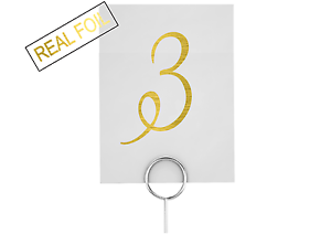 Silver, Gold or Copper Foil Wedding Decor / Table Numbers / Table Cards Signage