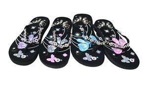 c15f0b2707655 Image is loading Womens-Flip-Flops -Summer-Beach-Sandals-FlatsThongs-Butterfly-