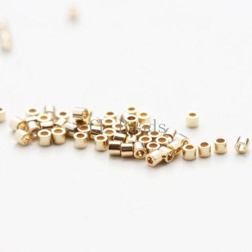 3.3 g japonais Miyuki Delica 24K plaqué or 15//0 Perles-Light Gold DBS0034