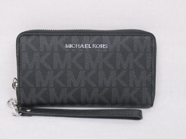 02f7d505dba5 Michael Kors Jet Set Travel Large Flat Multifunction Phone Case Wallet Black