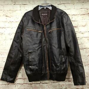 Guess Men's Designer Bomber Jacket Size M Faux Leather Zip Front Black Brown
