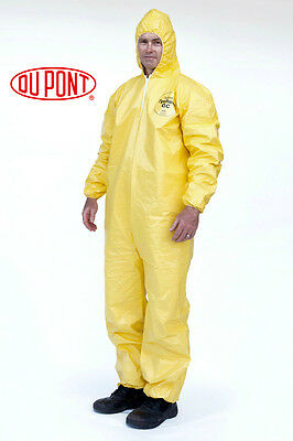 Case of 12 DUPONT Suit Tychem Tyvek QC127S Yellow Coverall Chemical Hazmat M