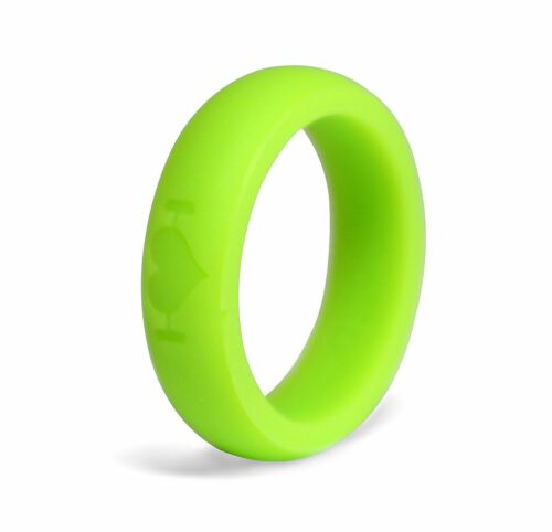 Neon Green Silicone Wedding Rings for Women, Bands Perfect for Crossfit, Fitness