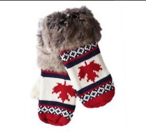 RED-MAPLELEAF-CANADA-CANADIAN-FAUX-FUR-FASHION-WARM-WINTER-MITTENS-MITTS