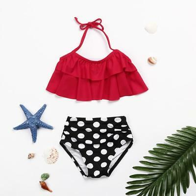 2Pcs Toddler Baby Kid Girls Ruffles Swimwear Bathing Bikini Set Outfits Swimsuit