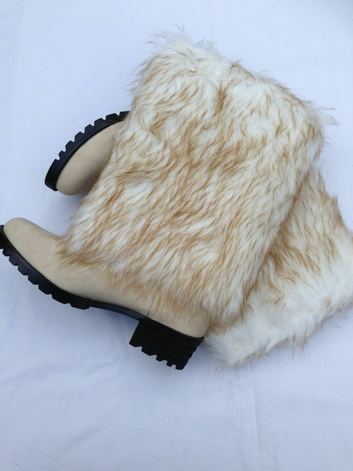 Bulk buy buy buy 6 x Womens Yeti Winter Boots Cream Faux Fur Size 4 - 6 1 2 UK 37 - 40EU dc3101