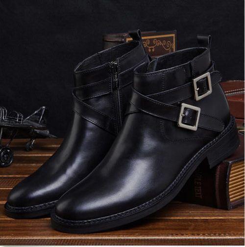 Zapatos De Vestir hombre Cuero Real Formal empresa Tobillo botas Vintage Correa Hebilla S