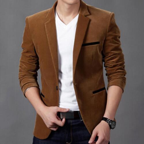 Men/'s Casual Slim Fit One Button Suit  Blazer Coat Jacket Tops JA