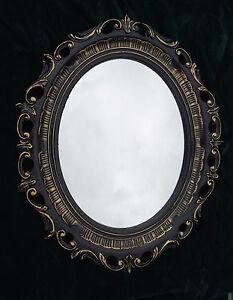 wandspiegel schwarz gold barock shabby spiegel oval 58x68. Black Bedroom Furniture Sets. Home Design Ideas