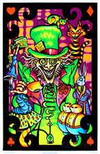 Alice in Wonderland Mad Hatter Collage Flocked Blacklight Poster Art Print