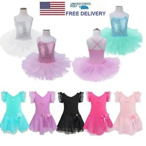 Toddler-Girl-Ballerina-Costume-Tutu-Skirt-Ballet-Dancewear-Gym-Leotard-Dress