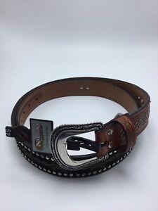 Nocona-Men-039-s-size-46-Western-Rhinestone-Conchos-Studded-Brown-N2419867-46-NWT