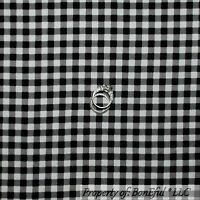Boneful Fabric Fq Flannel Cotton Quilt Black White Gingham Check Xmas Block