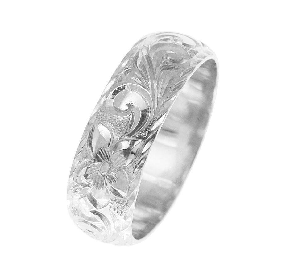 14K WHITE gold HAND ENGRAVED HAWAIIAN PLUMERIA SCROLL RING DIAMOND CUT EDGE 8MM