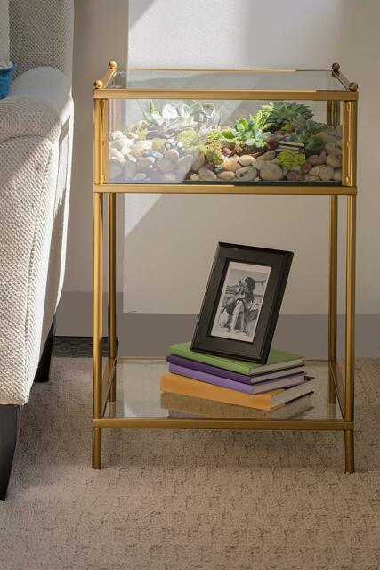 Gold Accent Side End Table Glass Metal Display Shadow Box Terrarium Showcase