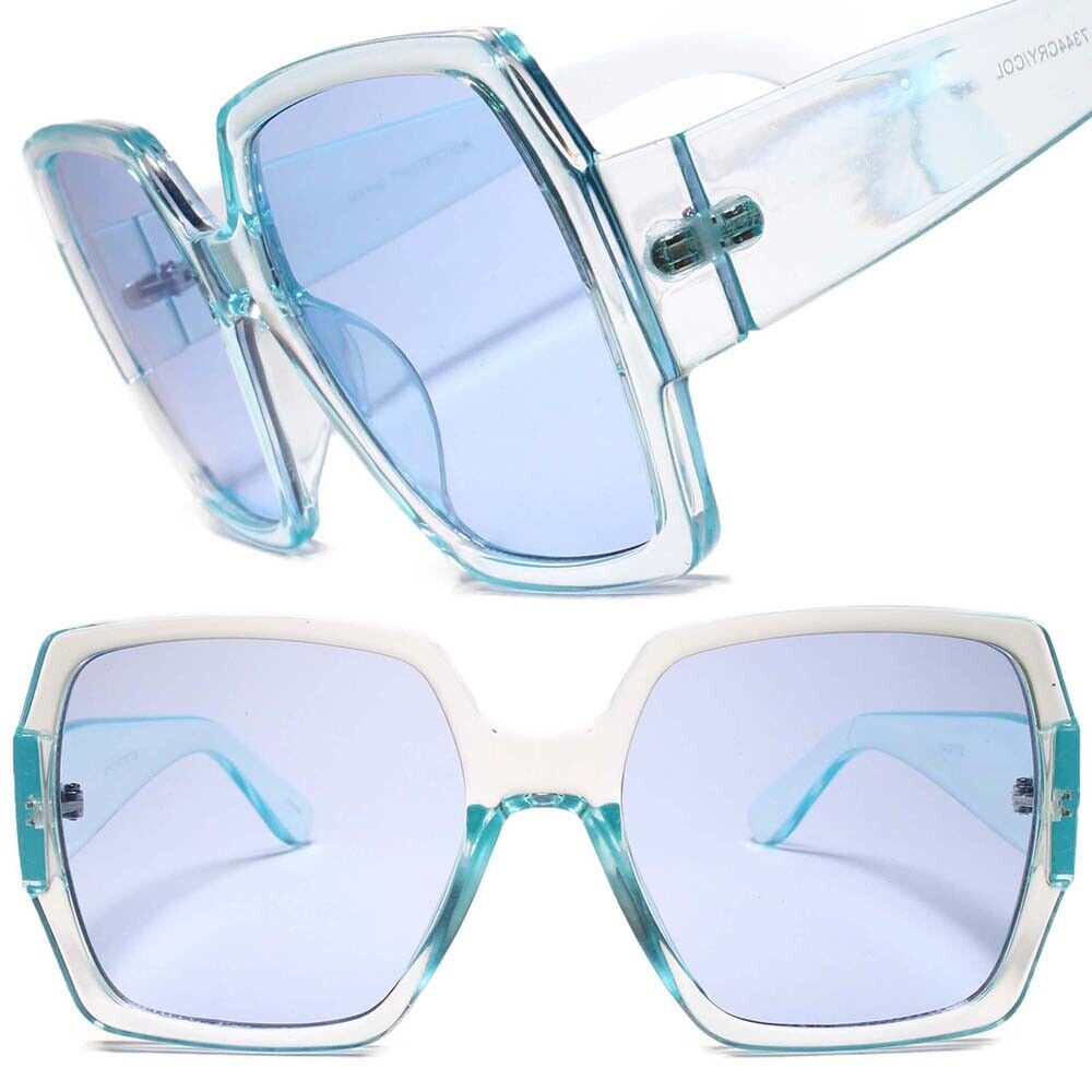 Elegant Upscale Fashion Stylish Oversized Womens Chic Blue Square Sunglasses