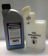 Two Stroke Engine Oil 1 Ltr & Fuel Mixer Bottle ideal for Stihl Husqvarana Echo