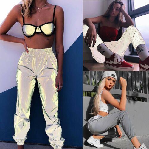 Women Casual Luminous Sport Pants Reflective Streetwear Long Pants Trousers
