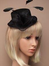 Nuevo Sombrero Negro Sinamay Tejido Con Plumas Fascinator de la Alambre Peine Boda Carreras