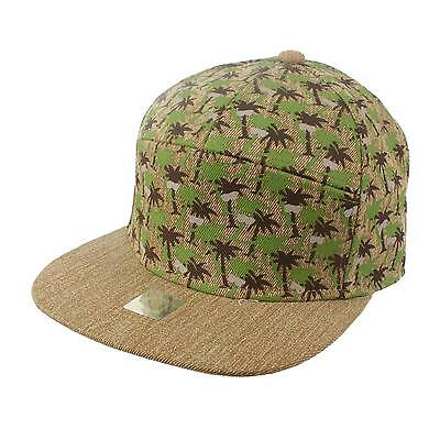 Men's Summer Cool Cotton Tropic Palm Trees 7 Panel Snapback Cadet Cap Hat Khaki