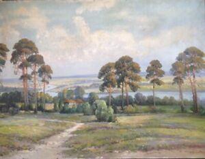 ALBERT-BLAETTER-1878-1935-BLICK-AUF-EINEN-FLUss-BRANDENBURG-KIEFERN-ANTIK