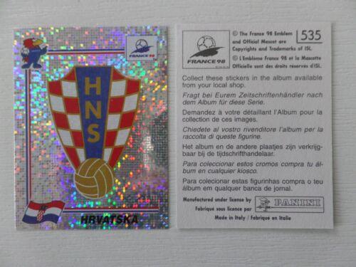535-escudo de armas croacia//badge Hrvatska no Panini fifa WC//Wm 1998 france stick