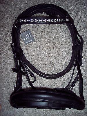 BARGAIN!*Cosmic Leather Bridle*BLING Crystals Flower Design Browband*Black*