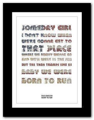 Born To Run BRUCE SPRINGSTEEN 4 sizes lyric poster typography art print