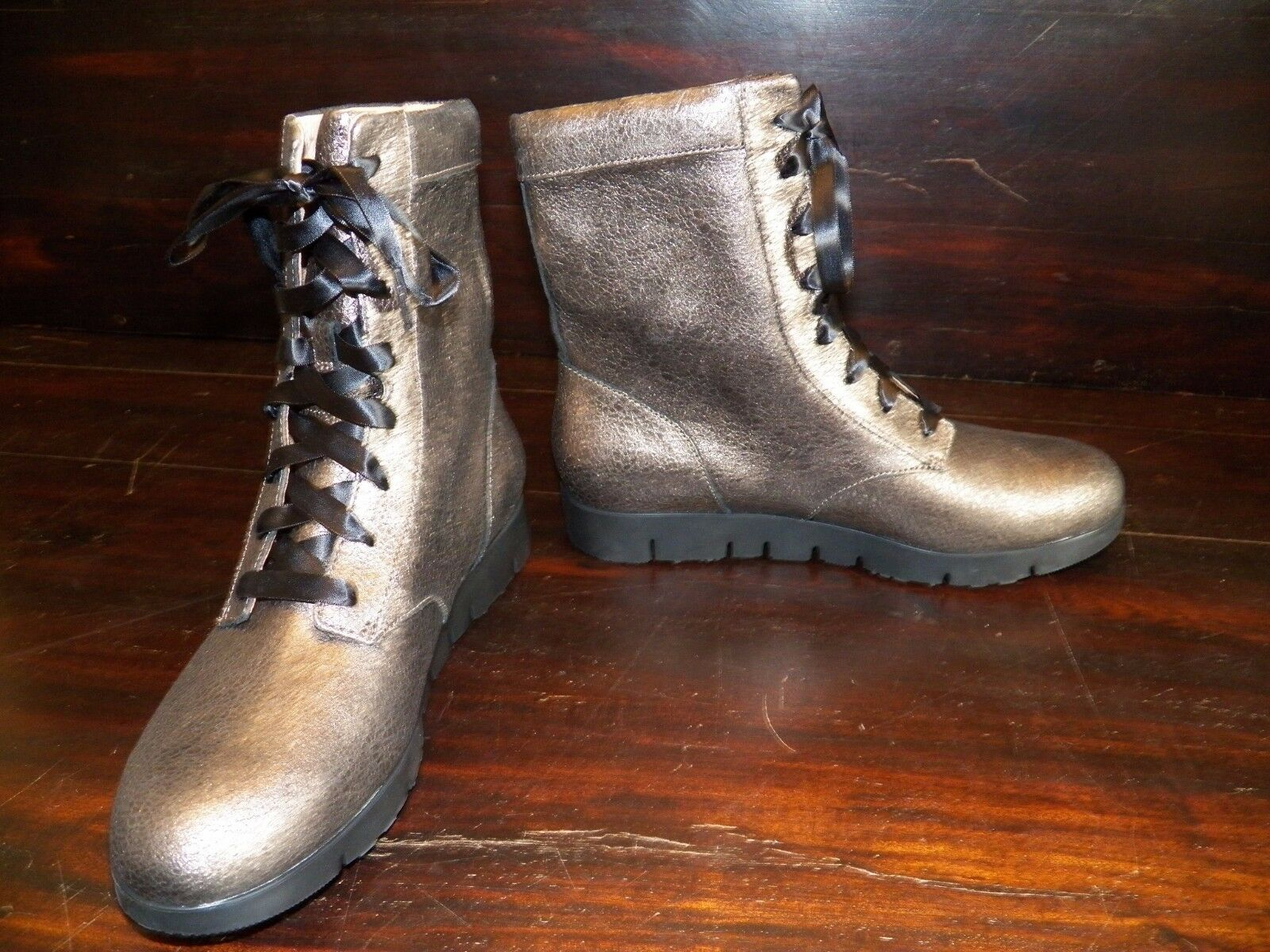 New Womens TSUBO Emilee Bronze Leather Combat Military Lightweight Lace Up Boots