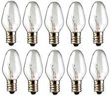 Box of 10 Nightlight Bulbs 15C7 Clear 15W 120V E12 Candelabra Base