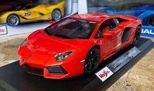 Lamborghini-Aventador-Rojo-1-18-Maisto-escala-Diecast-Modelo-Coche-Deportivo-Nuevo-En-Caja