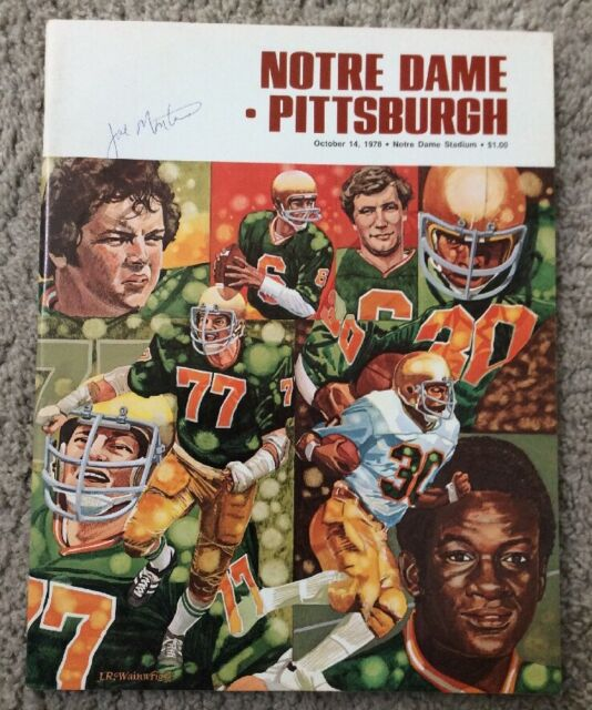 1978 NOTRE DAME FOOTBALL VS PITTSBURGH PROGRAM SIGNED JOE MONTANA