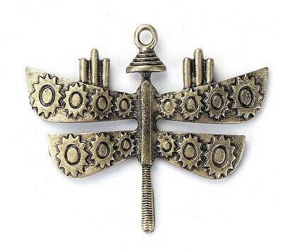 Pendentif steampunk libellule en métal couleur bronze