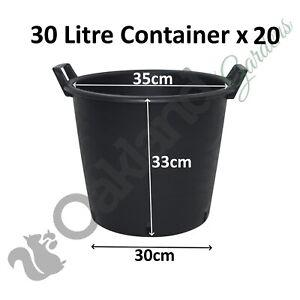 4 x 30 Litre Plant Tree Pot With Handles Heavy Duty 30L Lt Big Large Plastic