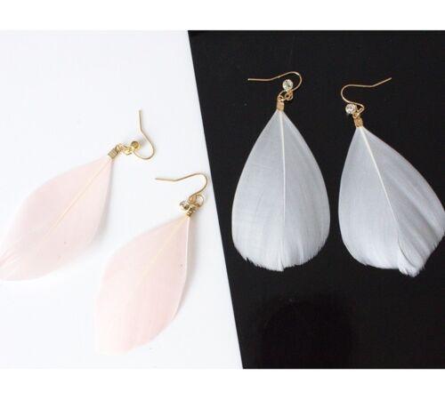 mode simple cristal plume boucles d/'oreilles exagérée personnalité bijoux