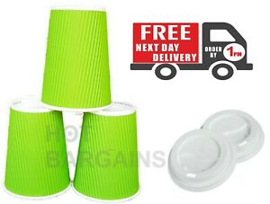 8-12oz-100-x-Green-Disposable-Paper-Cups-Kraft-Cups-Hot-amp-Cold-Drinks-Party-Cups