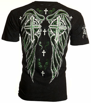 Archaic AFFLICTION Mens T-Shirt FAITH Cross Wings Tattoo Biker UFC M-4XL $40 a